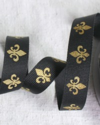 French Gold Fleur de Lis Grosgrain Ribbon