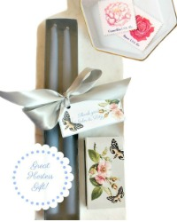 Hand Dipped French Bleu Taper Candles Gift Set