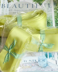 Summer Chartreuse Green Satin French Wired Ribbon