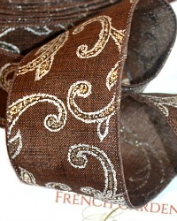 French Wired Autumn Silvered Scroll Linen Ribbon