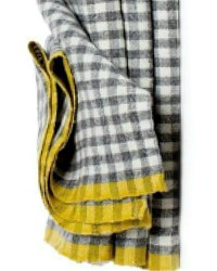 French Dijon Grey Linen Napkins Gingham Checks Set of 4