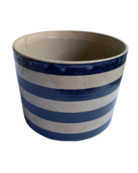 Country Cheese Preserver Blue Striped Pottery Crock
