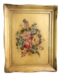 Vintage Shabby Hand Painted Wood Tole Tray with Rose Bouquet