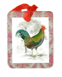 French Country Rooster Gift Tags Set and Red Satin Ribbon Set