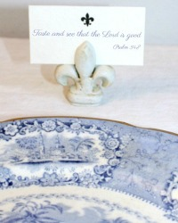 Fleur de Lis Place Card Holders and Cards Set 4