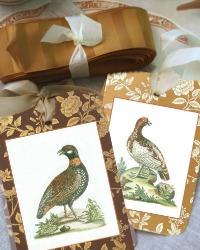 Autumn  Pheasant Gift Tags Set of 8 and French Wired Ribbon Set