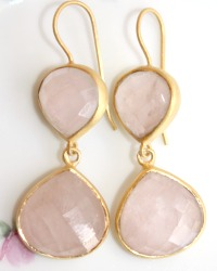 Dawn Break Pink Quartz Vermeil Earrings