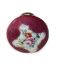 Antique French Limoges Porcelain Hand Painted Floral Door Knob Wine