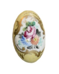 Antique French Limoges Porcelain Hand Painted Floral Door Knob Yellow
