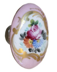 Antique French Limoges Porcelain Hand Painted Floral Door Knob Pink