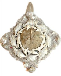 Antique French Souvenir Shell Work Pin Cushion Pelican's Feet Shells