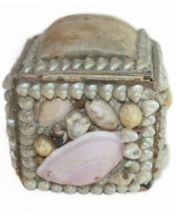 Antique French Souvenir Shellwork Pin Box Pink Shell