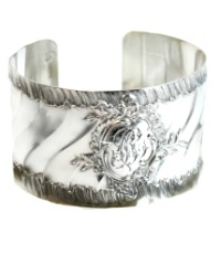 Antique French Sterling Silver Cuff Bracelet Ruffled Monogram B C