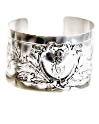 Antique French Sterling Silver Cuff Bracelet Shield
