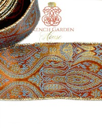 French Wired Golden Damask Paisley Ribbon