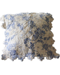 French Country Boutis Cafe et Bleu Pillow Cover Medium