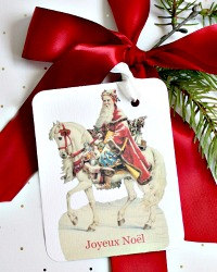 Holiday French Country Pere Noel Gift Tags and Red Satin Ribbon Set