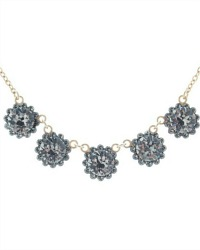 Gold French Fleur Parisian Diamant Cut Crystal Necklace