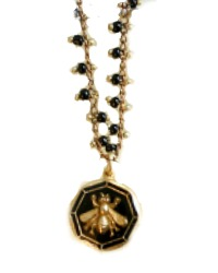 French Royal Bee Necklace with Black Enamel Round