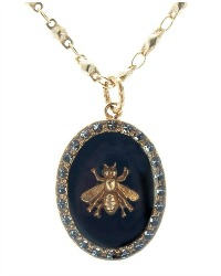 French Royal Bee Necklace with Black Enamel Oval