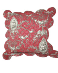 French Country Boutis Red Pillow Cover Medium