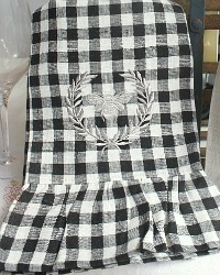 Linen Checked Bee Towel with Ruffle Black