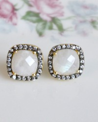 Parisian Magic Vermeil Square Cut Moonstone Earrings