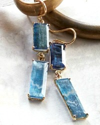 Cote d'Azur Blue Kyanite and Gold Filled Dangle Earrings
