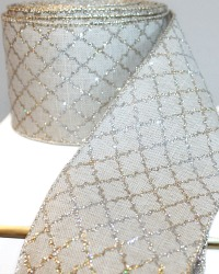 French Wired Natural Linen Gilded Gold & Silver Ribbon