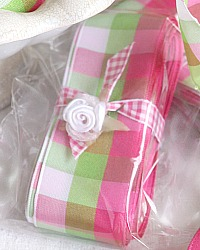 Creme Glacee Checked French Wired Ribbon