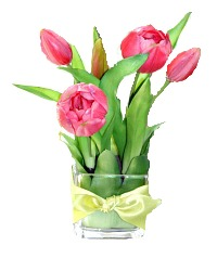 French Pink Tulips in Glass Vase