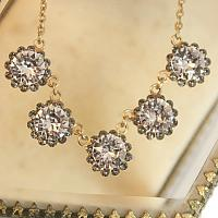 Gold French Fleur Parisian Cut Crystal Necklace