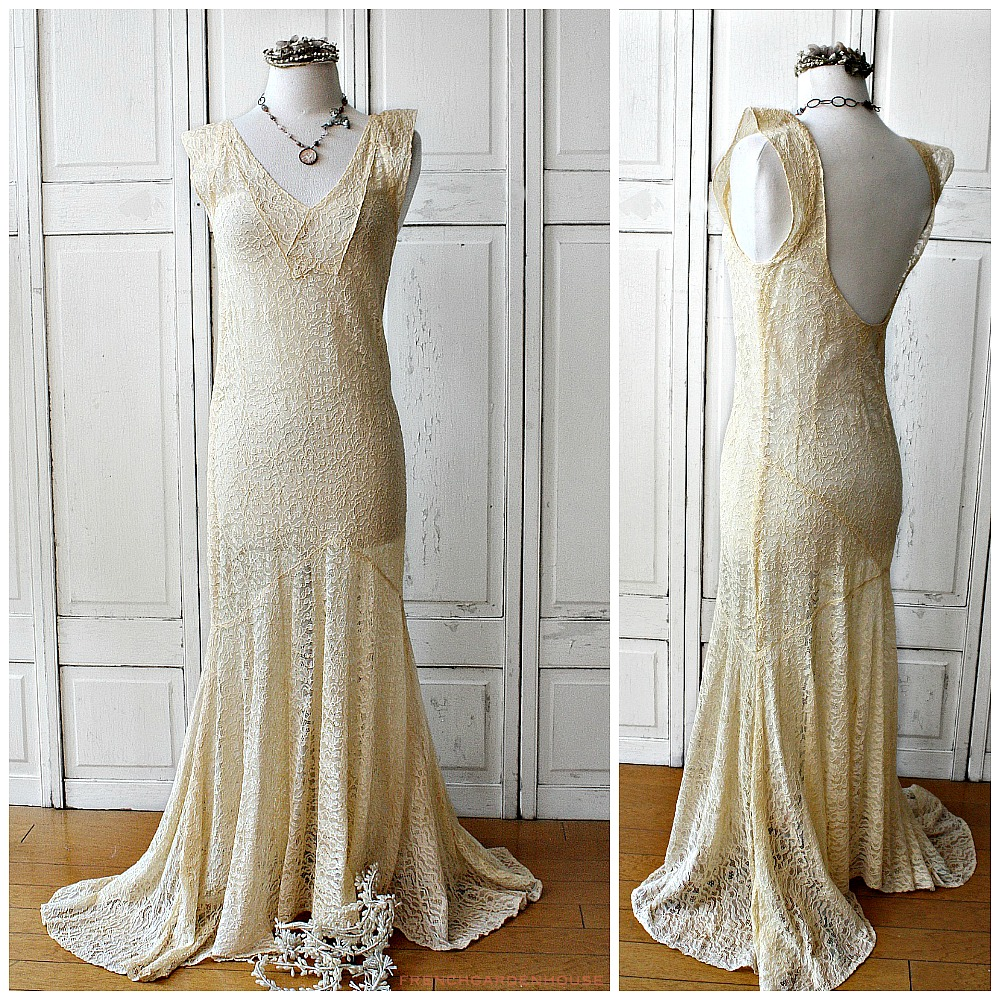1920\'s French Alencon Lace Trumpet Wedding Evening Gown