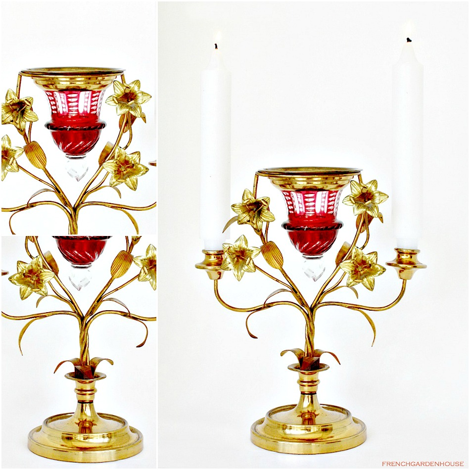 19th Century French Gilt and Cranberry Cut Glass Altar Candelabra