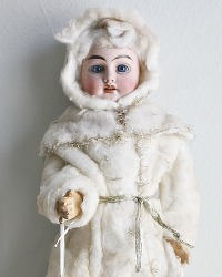 Rare Antique All Original French Porcelain Winter Doll
