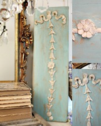 Antique French Aqua Wood Decorative Panel