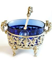 Rare Antique Silver Salt Cellar Renaissance Cherub Griffin Design Blue Liner