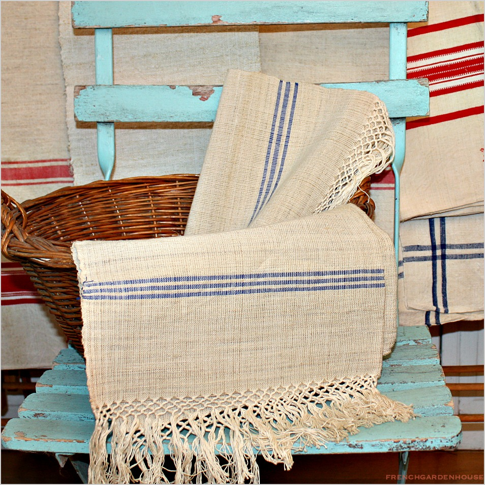 Antique French Natural Heavy Show Towel Knotted Fringe Blue Stripe