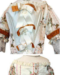 French Silk Embroidered Theater Costume with French Net Ruffled Sleeves
