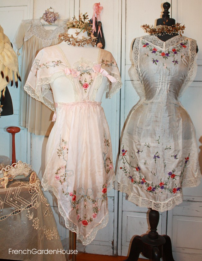 Antique French Ribbon Work Silk Embroidery Apron Pink Flowers