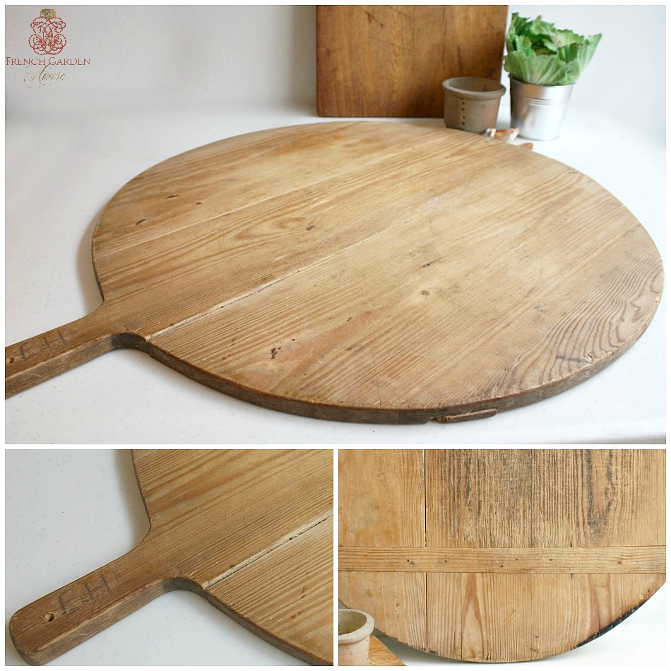 Antique French Large Round Breadboard Honey Color
