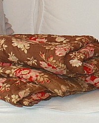 Antique 19th Century French Whole Cloth Hand Quilted Quilt Provence Roses