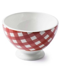 French Country Check Cafe au Lait Bowl Set of 4 Liv RED