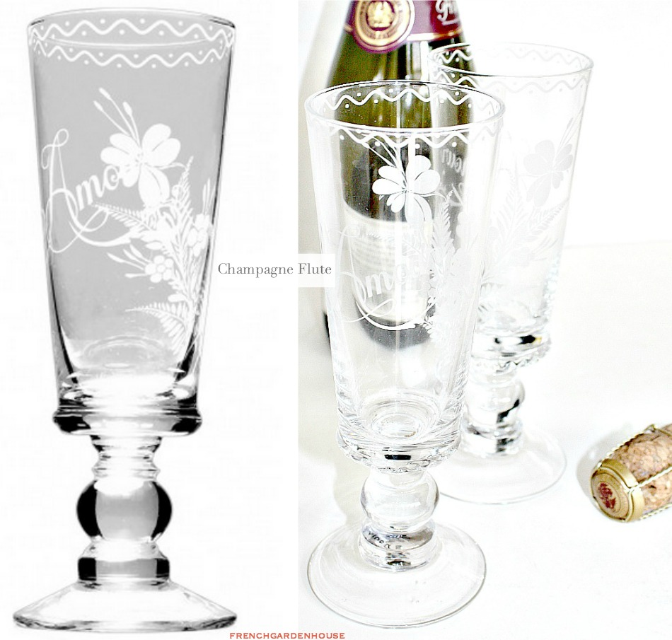 French Hand Made Floral Amour Champagne Flute Glass Set of 4