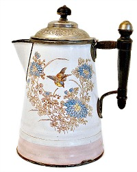 Antique French Enamelware Bird Cafetiere Coffee Pot
