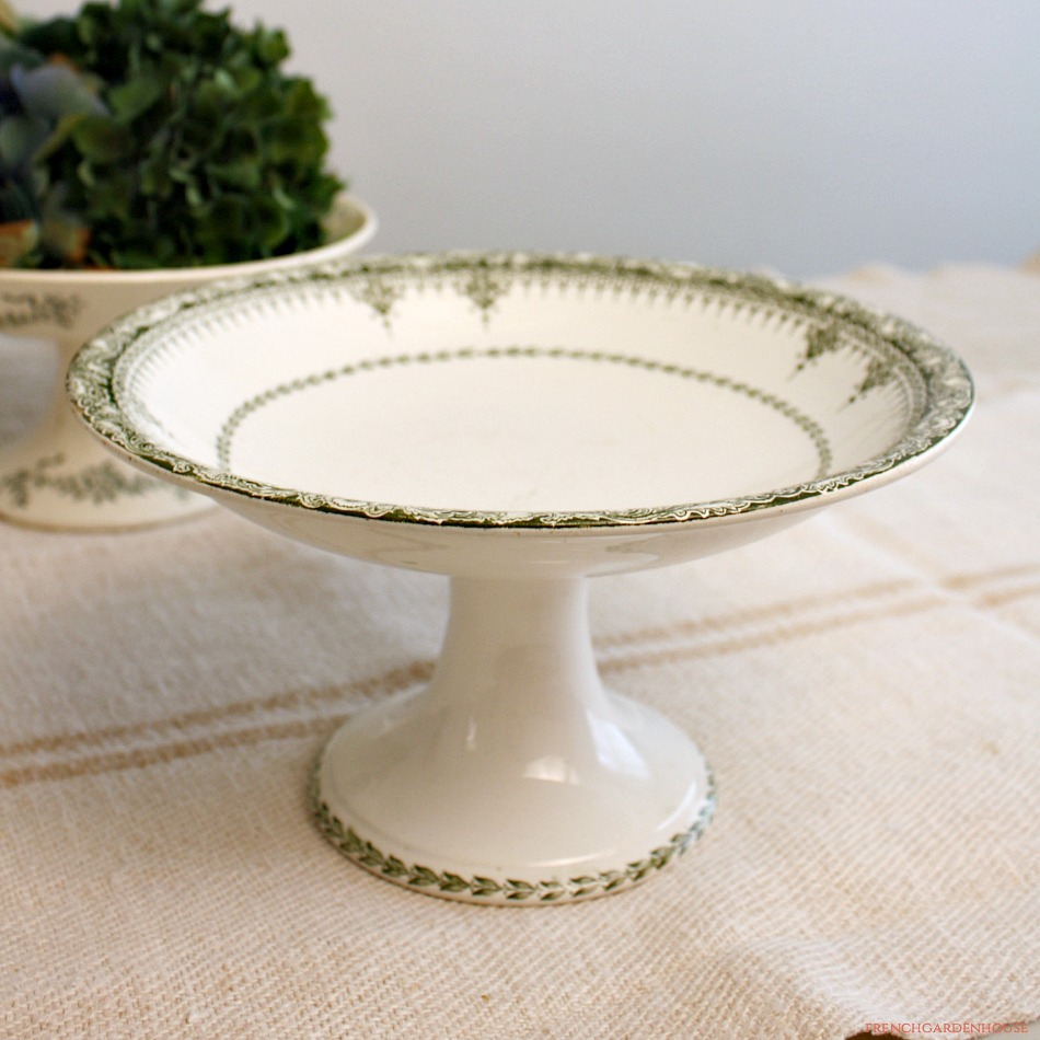 Antique French Footed Cake Pedestal Plate Green