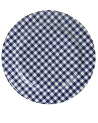 French Country Check Dessert Plate Set of 4 M BLUE