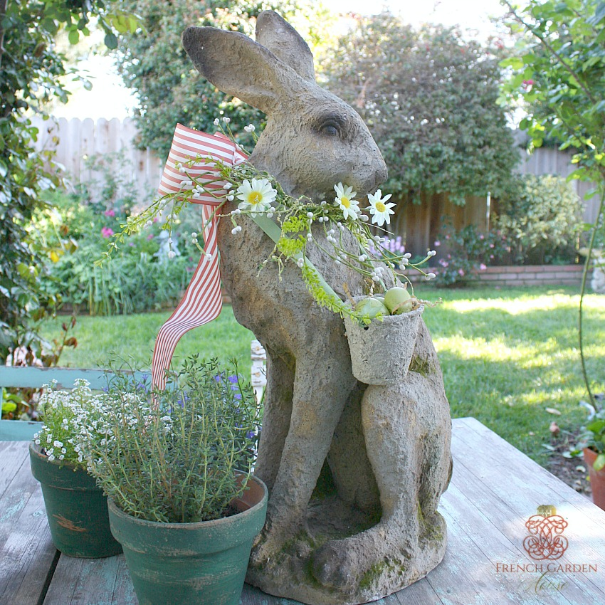 French Country Mademoiselle Lievre Large Standing Hare Rose LAST ONE
