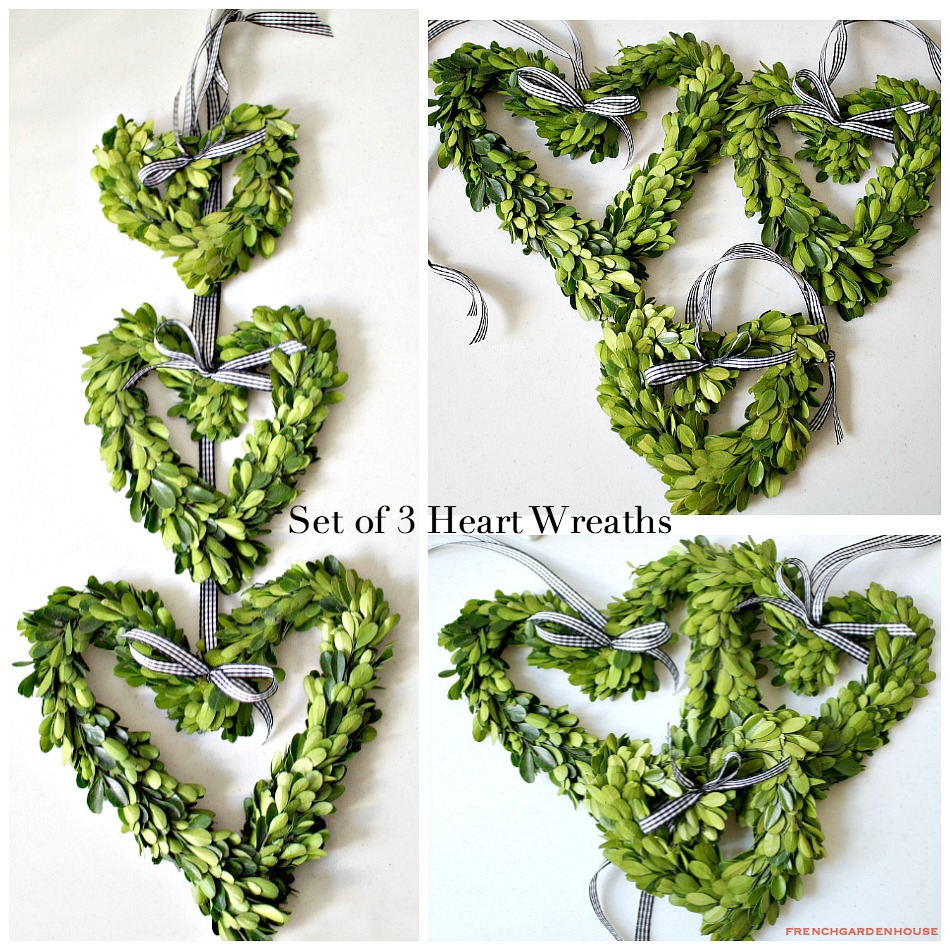 Preserved French Country Boxwood Heart Wreaths Set of 3