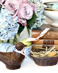 French Country Decorative Bird and Nest Egg Basket Set of 2